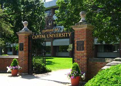 "A quick drive leads to the ""Memorial Gate"" on the campus of Capital University."
